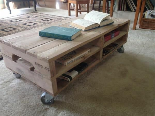 pallet coffee table with casters